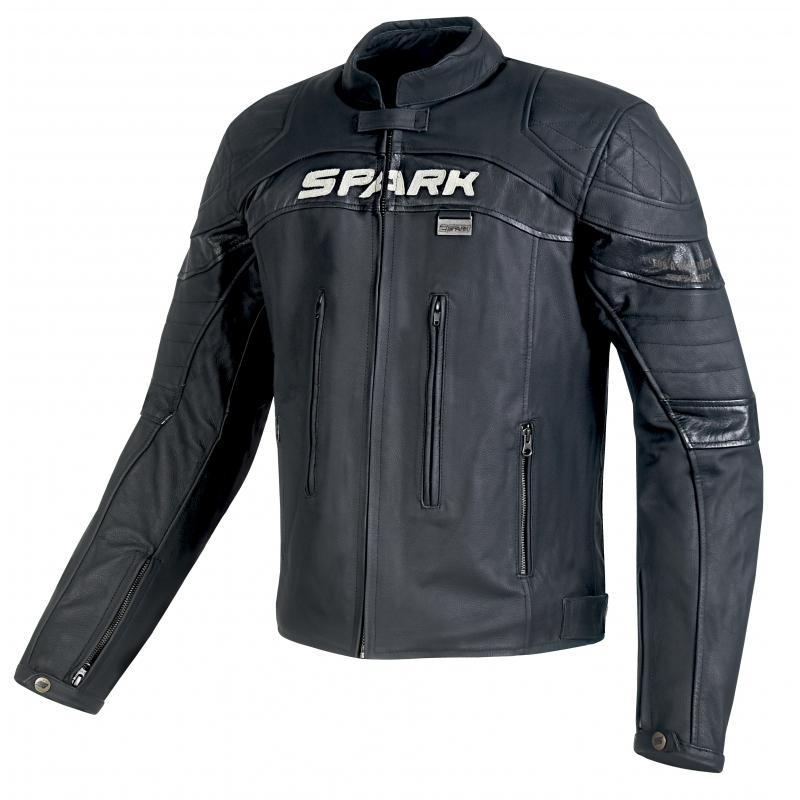 Pánská kožená moto bunda Spark Dark černá - 4XL