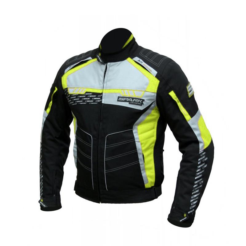 Pánská textilní moto bunda Spark Mizzen černá-fluo - M