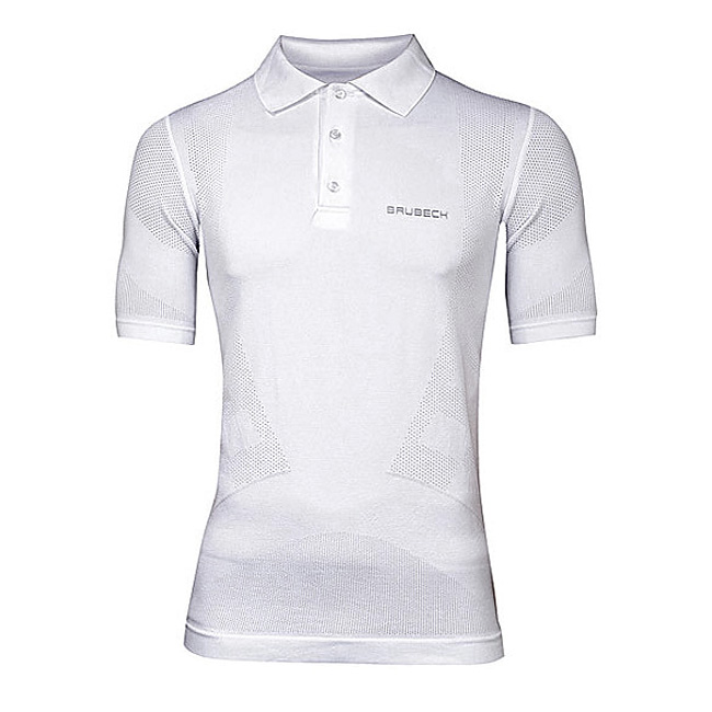 Pánské thermo tričko Polo Brubeck PRESTIGE s límečkem bílá - M