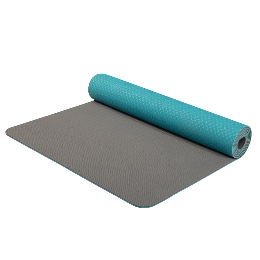 Dvouvrstvá podložka Yate Yoga Mat TPE tyrkys-šedá