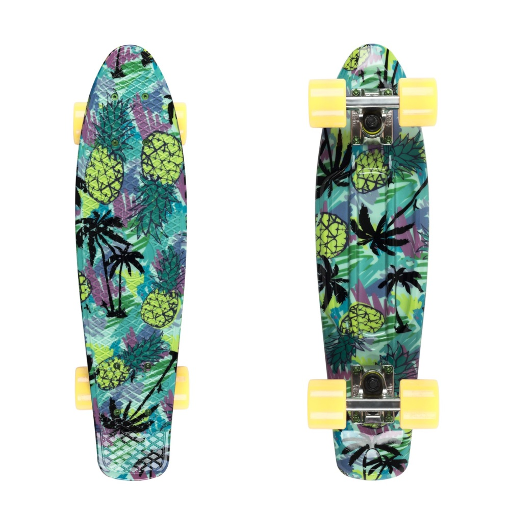"Penny board Fish Print 22"" Pineapple-White-Summer Yellow"