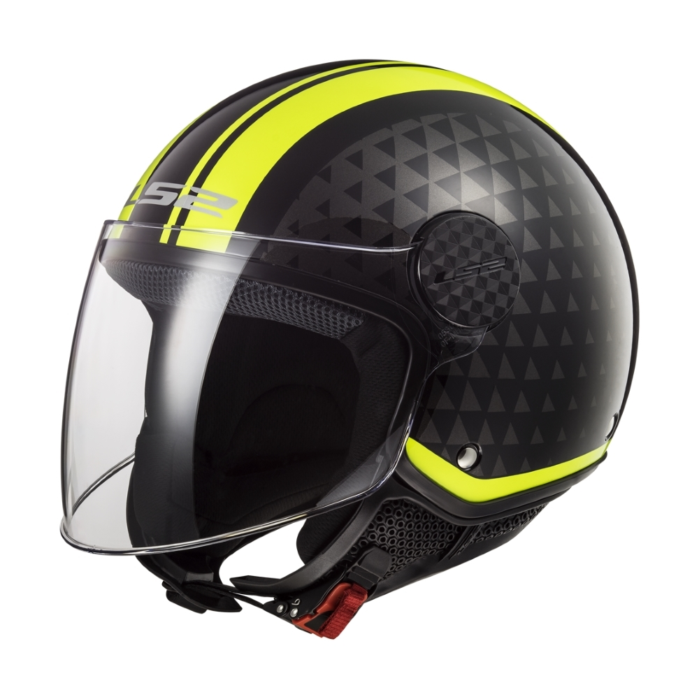 Moto přilba LS2 OF558 Sphere Lux Crush Black H-V Yellow - S (55-56)