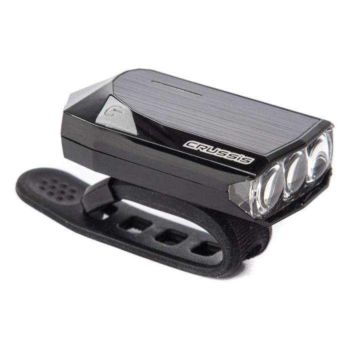 Přední supersvítivé 3LED světlo CRUSSIS bílé - dobíjecí přes USB