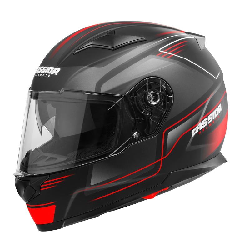 Moto přilba Cassida Apex Fusion černá matná/červená fluo/bílá - S (55-56) CASSIDA