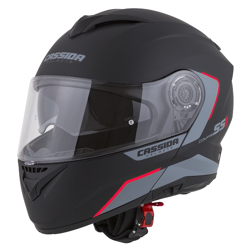 Moto přilba Cassida Compress 2.0 Refraction černá matná/šedá/červená - S (55-56) CASSIDA