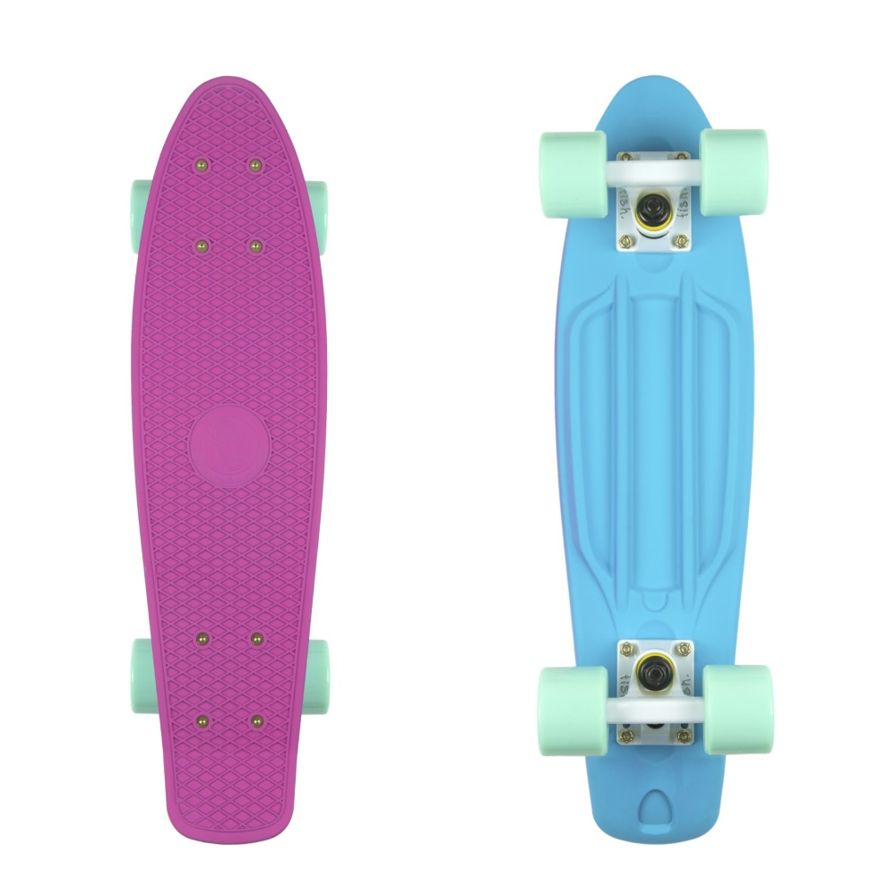 """Penny board Fish Classic 2Colors 22"""" Pink Blue-White-Green"""