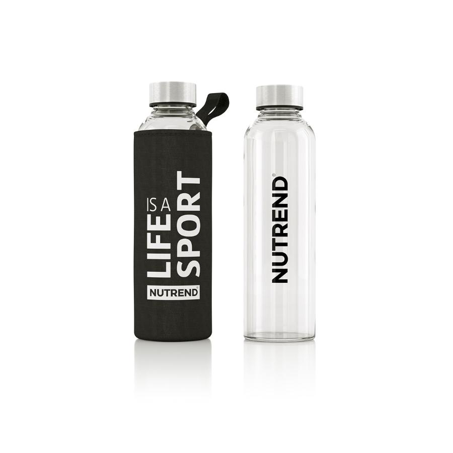 Skleněná láhev s termo obalem Nutrend Active Lifestyle 500 ml černá