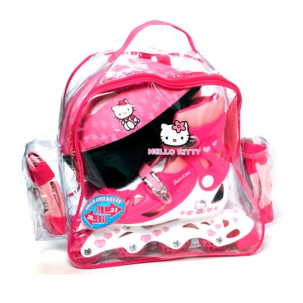 Dívčí sada Hello Kitty kolečkové brusle s přilbou a chrániči
