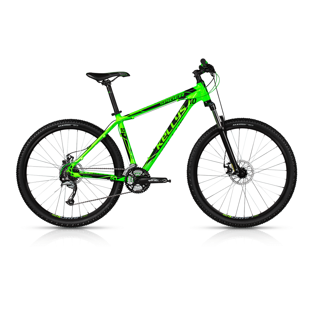 "Horské kolo KELLYS SPIDER 10 27,5"" - model 2017 Toxic Green - 445 mm (17,5"") - Záruka 10 let"