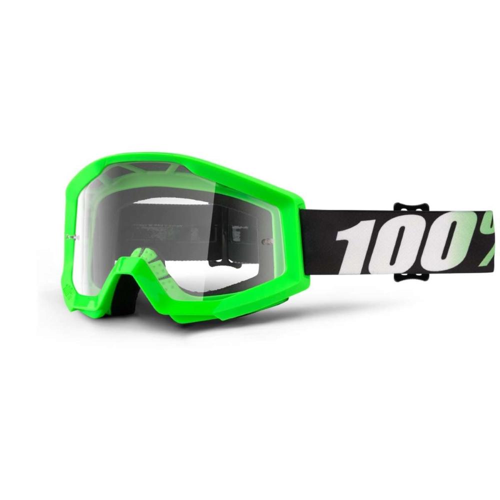 Motokrosové brýle 100% Strata Arkon světle zelená, čiré plexi s čepy pro slídy