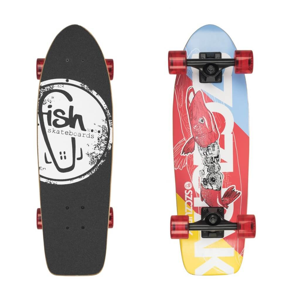 "Mini longboard Fish Old School Cruiser Szczupak 26"" Silver-Transparent Red"