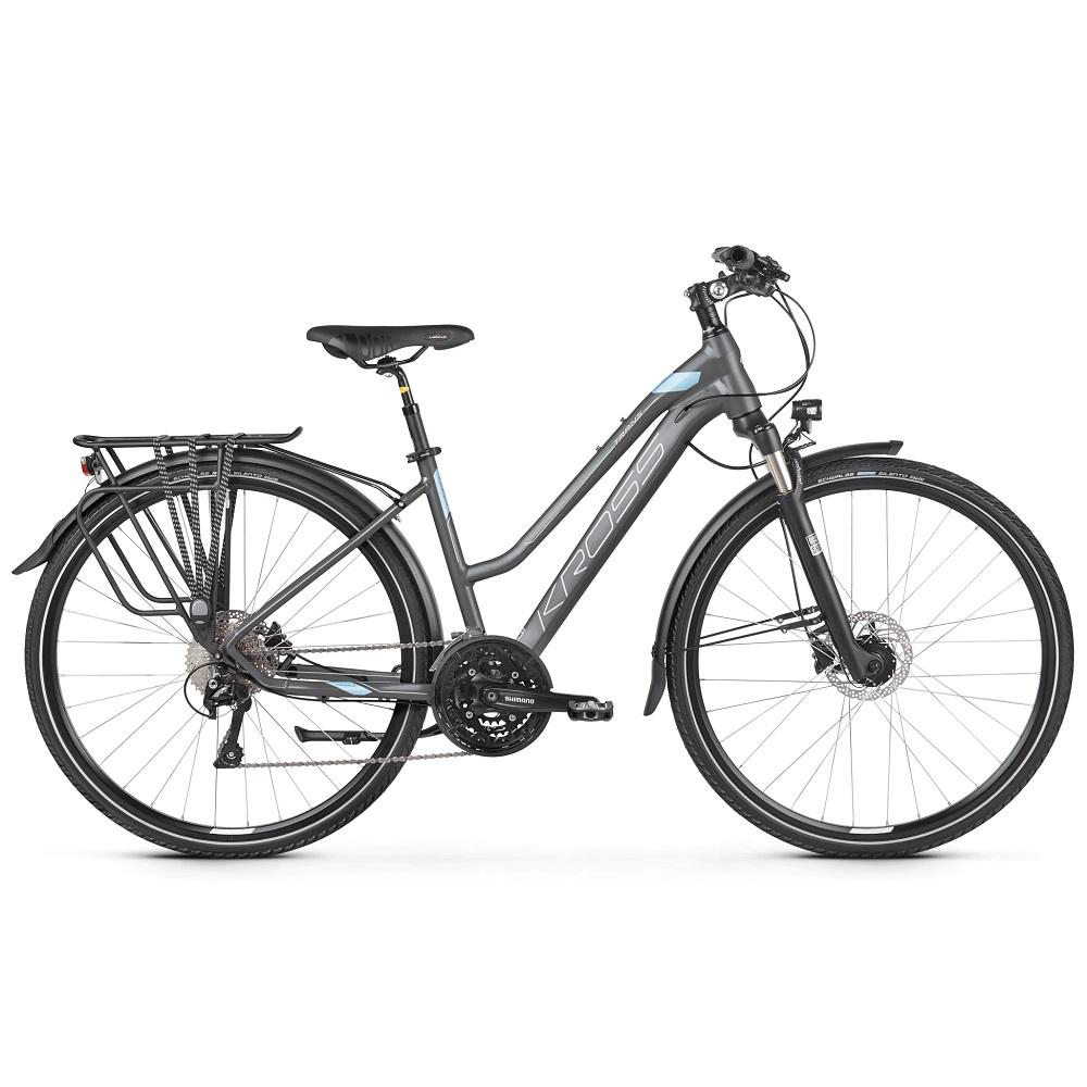 """Dámské trekingové kolo Kross Trans 10.0 28"""" - model 2020 grafitová/modrá/bílá - L (19"""") - Záruka 10 let"""