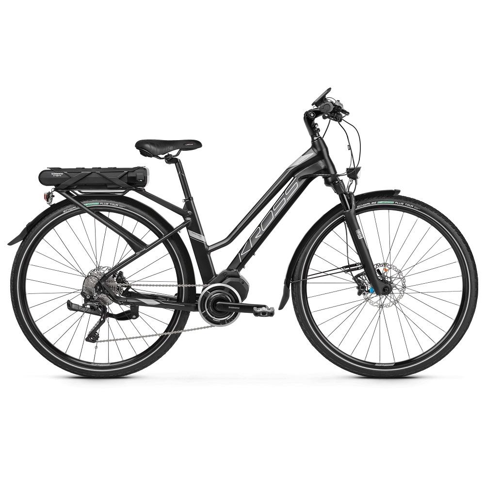 "Dámské trekingové elektrokolo Kross Trans Hybrid 5.0 28"" - model 2019 Black / Graphite Matte - L (19"") - Záruka 10 let"