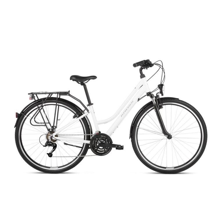 """Dámské trekingové kolo Kross Trans 1.0 28"""" SR - model 2021 bílá/šedá - S (15"""") - Záruka 10 let"""