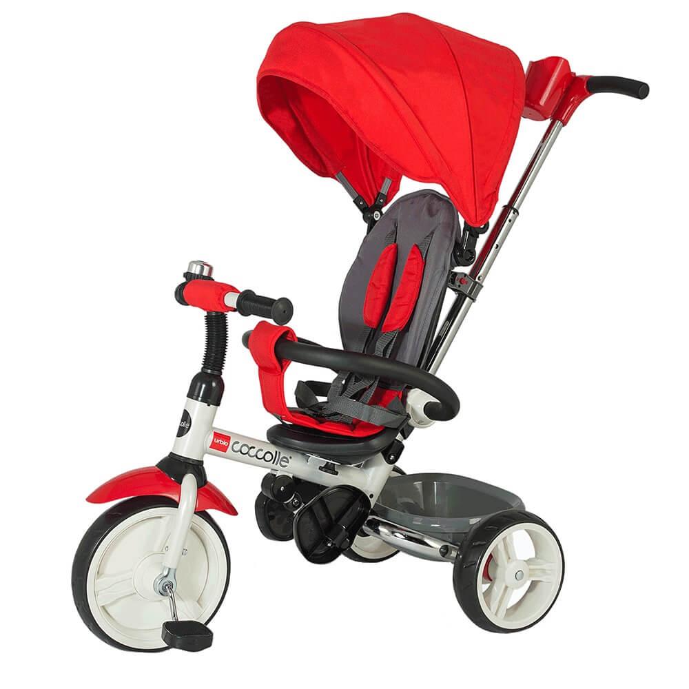 Dětská tříkolka s vodící tyčí Coccolle Urbio červená