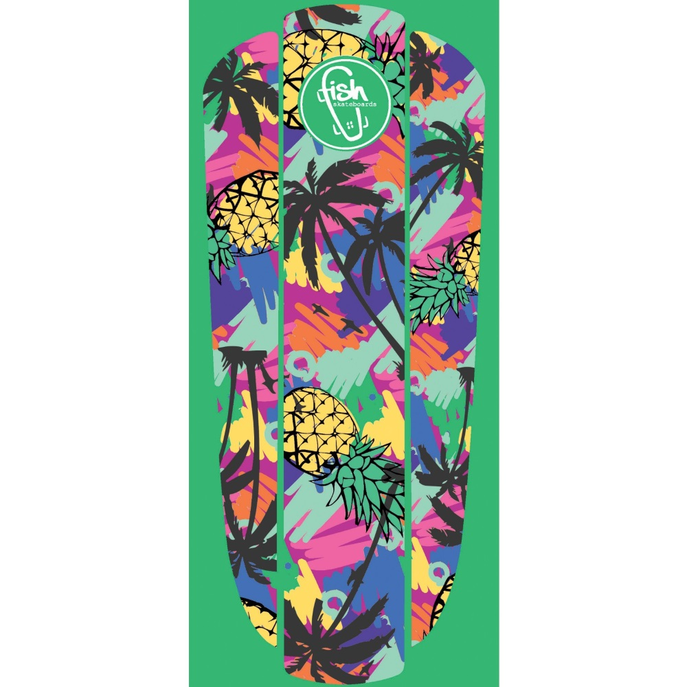 Fish Nálepka na penny board Classic 22 Green Hawaii