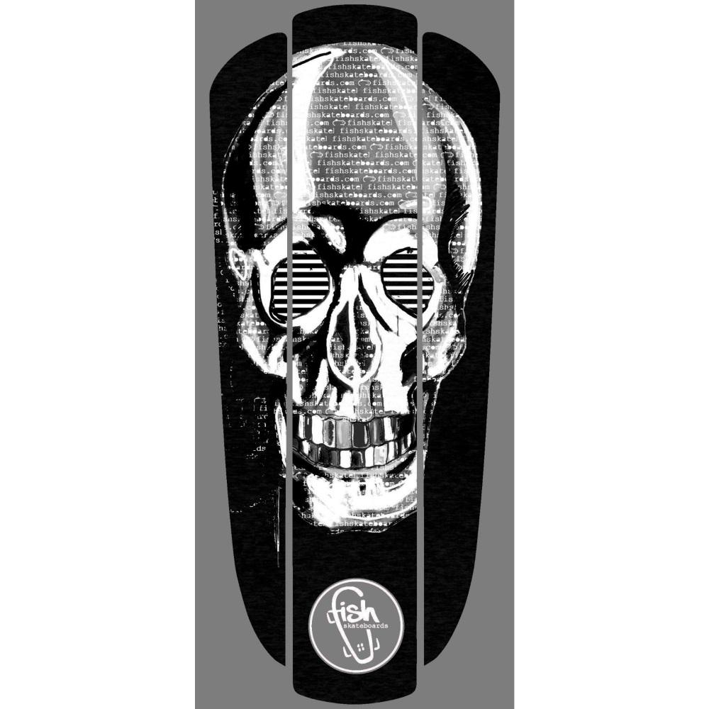 "Nálepka na penny board Fish Classic 22"" White Skull"