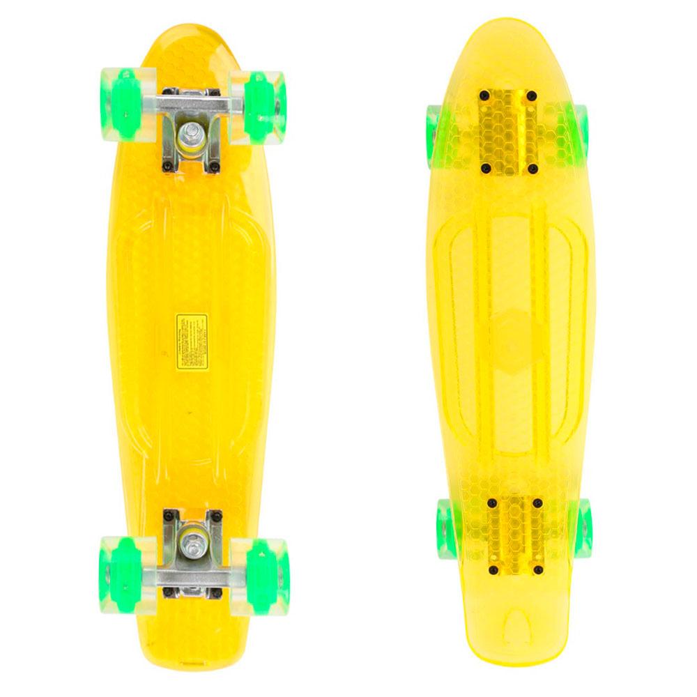 Penny board Maronad Retro Transparent se svítícími kolečky žlutá