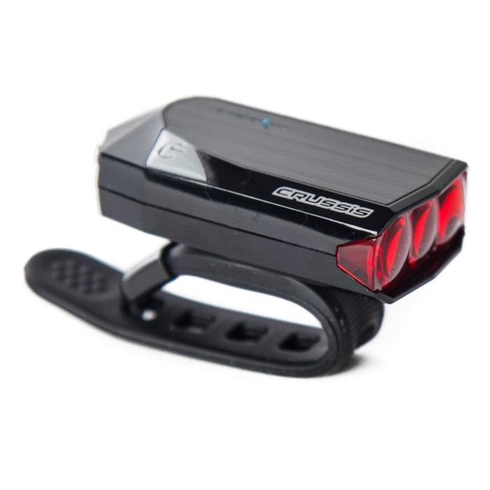 Zadní supersvítivé 3LED světlo CRUSSIS červené - dobíjecí přes USB