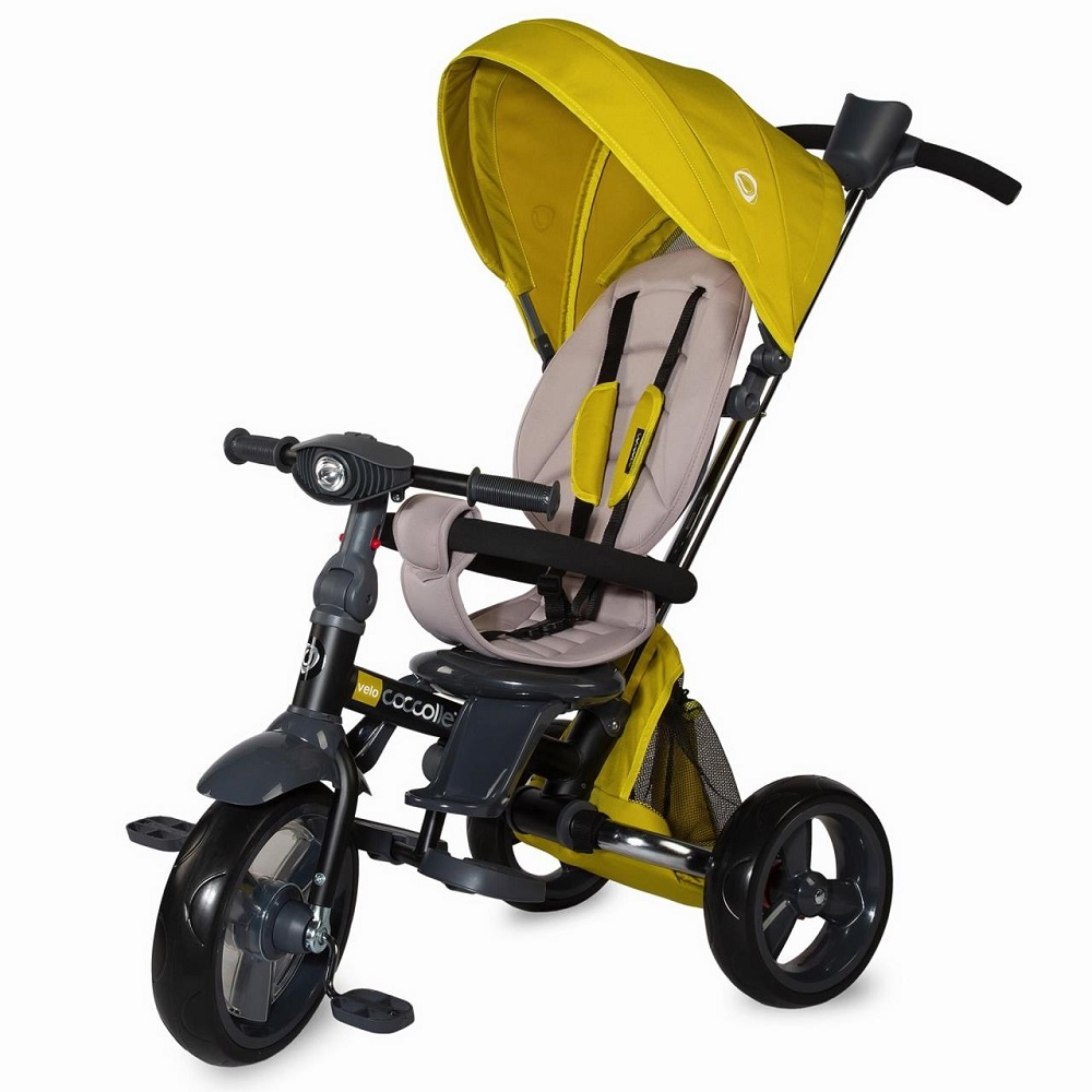 Dětská tříkolka s vodící tyčí Coccolle Velo žlutá