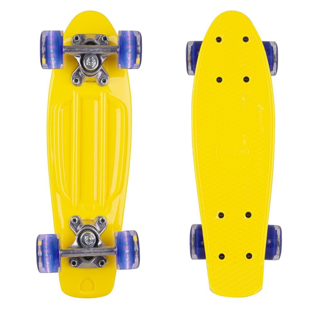 """Mini penny board WORKER Pico 17"""" se svítícími kolečky žlutá deska, tmavě modrá kolečka"""